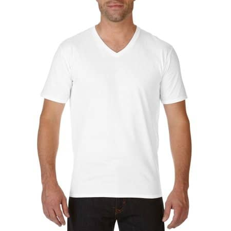 Premium Cotton® V-Neck T-Shirt in White von Gildan (Artnum: G41V00