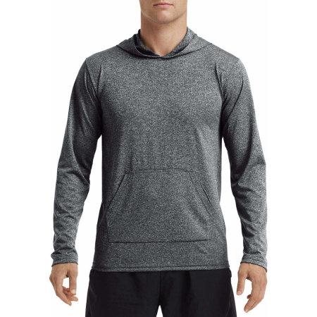 Performance Adult Hooded T-Shirt in Heather Sport Black von Gildan (Artnum: G46500