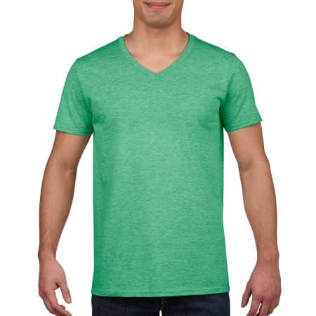 Softstyle® V-Neck T-Shirt in Heather Irish Green von Gildan (Artnum: G64V00