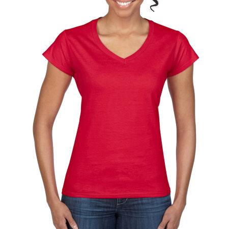 Softstyle® Ladies` V-Neck T-Shirt in Red von Gildan (Artnum: G64V00L