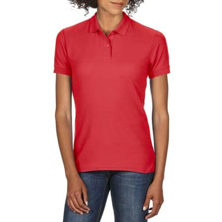 DryBlend® Ladies` Double Piqué Polo in Red von Gildan (Artnum: G75800L