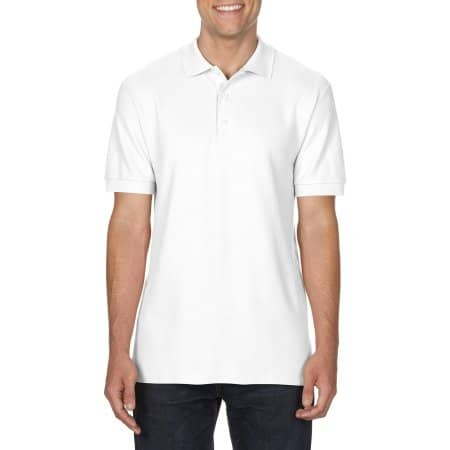 Premium Cotton® Double Piqué Polo in White von Gildan (Artnum: G85800