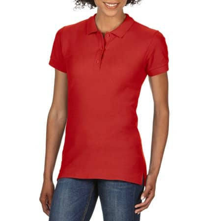 Premium Cotton® Ladies` Double Piqué Polo in Red von Gildan (Artnum: G85800L