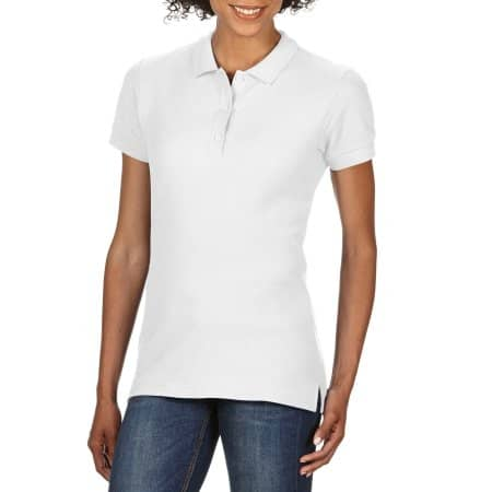 Premium Cotton® Ladies` Double Piqué Polo in White von Gildan (Artnum: G85800L