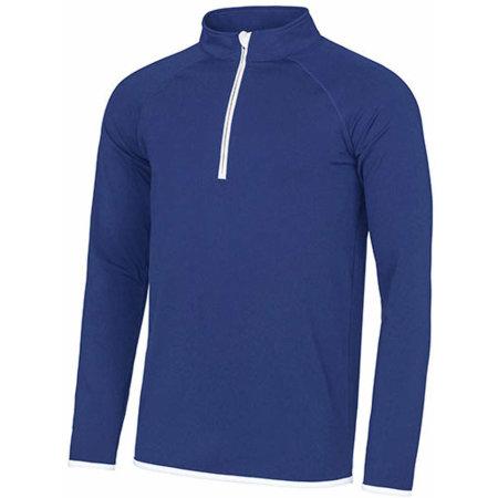Men`s Cool 1/2 Zip Sweat in Royal Blue Arctic White von Just Cool (Artnum: JC031