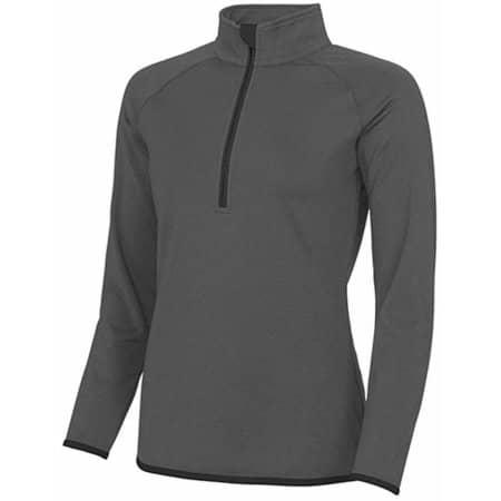 Girlie Cool 1/2 Zip Sweat in Charcoal (Solid)|Jet Black von Just Cool (Artnum: JC036