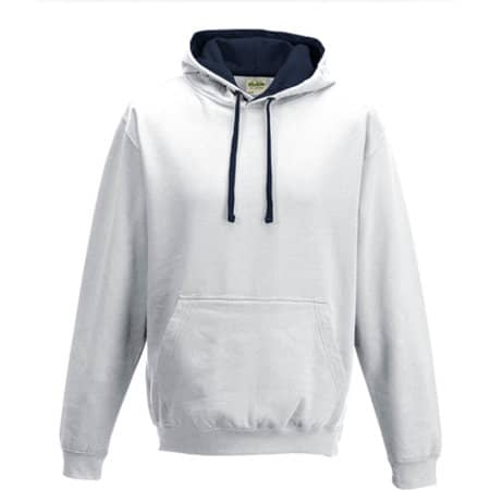 Varsity Hoodie in Arctic White|French Navy von Just Hoods (Artnum: JH003