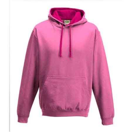 Varsity Hoodie in Candyfloss Pink|Hot Pink von Just Hoods (Artnum: JH003