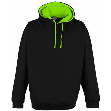 Superbright Hoodie in Jet Black|Electric Green von Just Hoods (Artnum: JH013