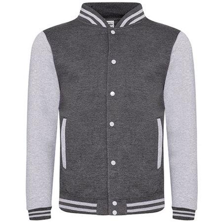 Varsity Jacket in Charcoal (Heather)|Heather Grey von Just Hoods (Artnum: JH043