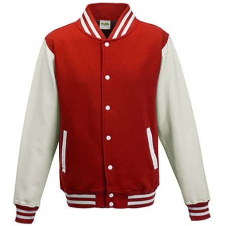 Varsity Jacket in Fire Red|White von Just Hoods (Artnum: JH043