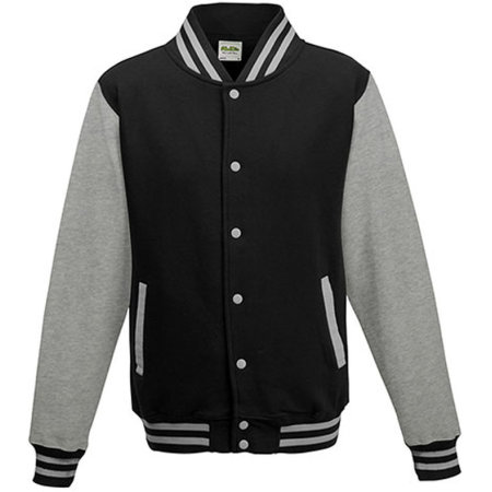 Girlie Varsity Jacket in Jet Black|Heather Grey von Just Hoods (Artnum: JH043F