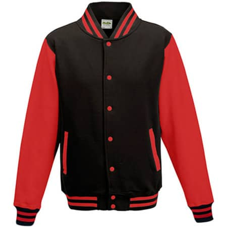 Kids` Varsity Jacket in Jet Black|Fire Red von Just Hoods (Artnum: JH043K
