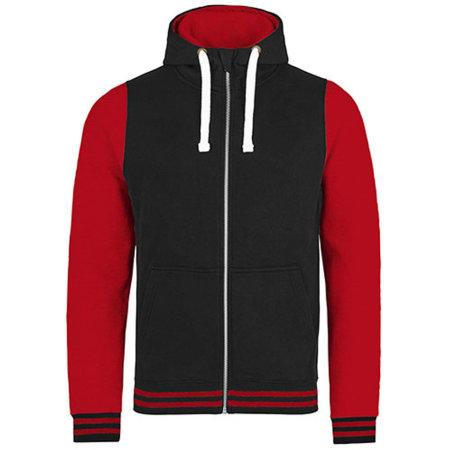 Urban Varsity Zoodie in Jet Black|Fire Red von Just Hoods (Artnum: JH051