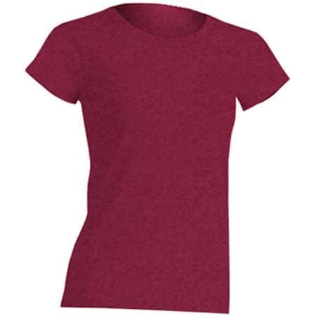 Regular Lady Comfort T-Shirt in Burgundy Heather von JHK (Artnum: JHK152