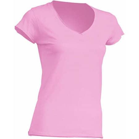 Ladies` V-Neck Sicilia in Pink von JHK (Artnum: JHK271
