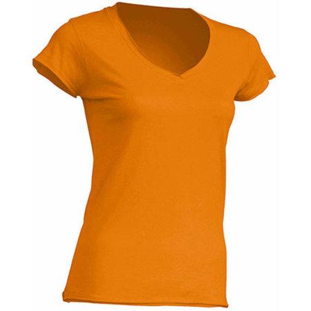 Ladies` V-Neck Sicilia in Tangerine von JHK (Artnum: JHK271
