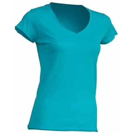 Ladies` V-Neck Sicilia in Turquoise von JHK (Artnum: JHK271