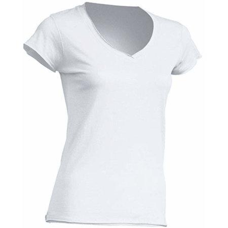 Ladies` V-Neck Sicilia in White von JHK (Artnum: JHK271