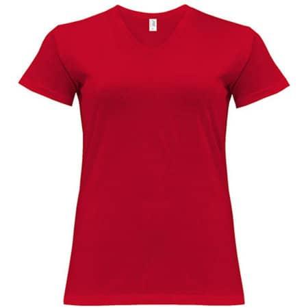 Curves T-Shirt V-Neck Lady in Red von JHK (Artnum: JHK604