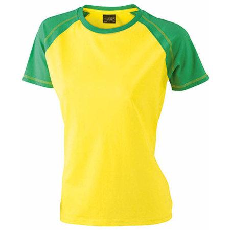 Ladies` Raglan-T in Yellow|Frog von James+Nicholson (Artnum: JN011