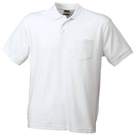 Polo-Piqué Pocket in White von James+Nicholson (Artnum: JN026