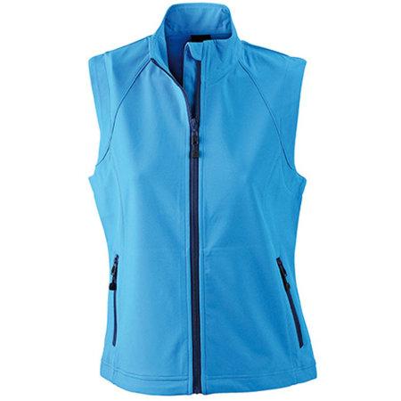 Ladies` Softshell Vest in Azur von James+Nicholson (Artnum: JN1023