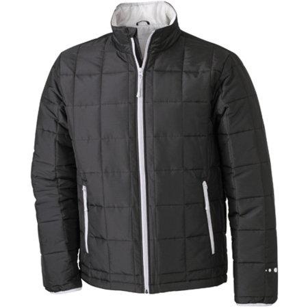 Men`s Padded Light Weight Jacket in Black|Silver (Solid) von James+Nicholson (Artnum: JN1035