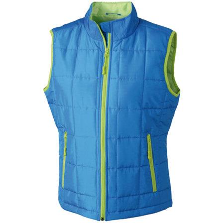 Ladies` Padded Light Weight Vest in Aqua|Lime Green von James+Nicholson (Artnum: JN1036