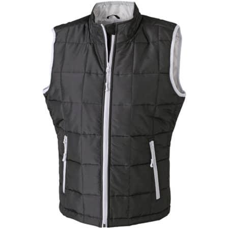 Ladies` Padded Light Weight Vest in Black|Silver (Solid) von James+Nicholson (Artnum: JN1036