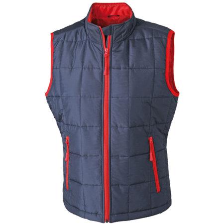 Ladies` Padded Light Weight Vest in Navy|Red von James+Nicholson (Artnum: JN1036