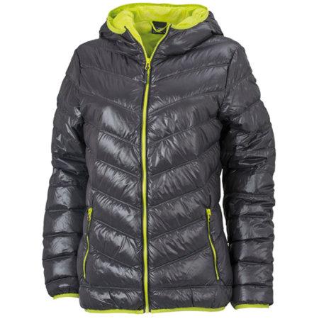 Ladies` Down Jacket in Carbon Acid Yellow von James+Nicholson (Artnum: JN1059