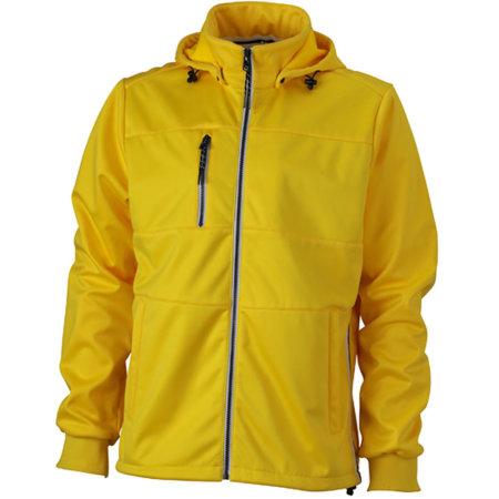 Men`s Maritime Softshell-Jacket in Sun Yellow Navy White von James+Nicholson (Artnum: JN1078