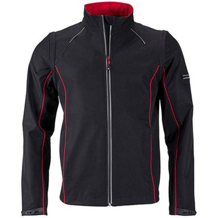 Men`s Zip-Off Softshell Jacket in Black|Red von James+Nicholson (Artnum: JN1122