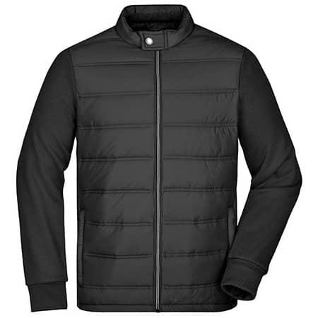 Men`s Hybrid Sweat Jacket in Black von James+Nicholson (Artnum: JN1124