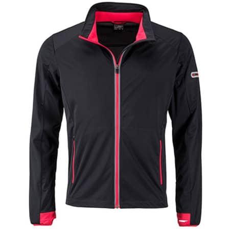 Men`s Sports Softshell Jacket in Black|Light Red von James+Nicholson (Artnum: JN1126