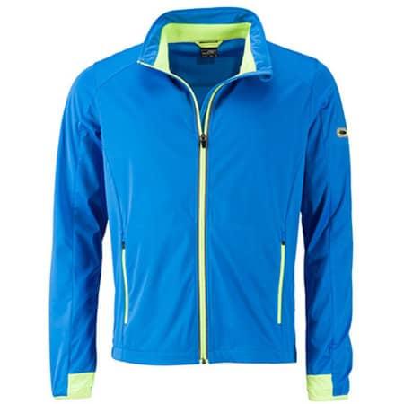 Men`s Sports Softshell Jacket in Bright Blue Bright Yellow von James+Nicholson (Artnum: JN1126