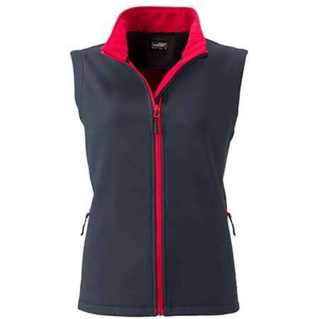 Ladies` Promo Softshell Vest in Iron Grey|Red von James+Nicholson (Artnum: JN1127