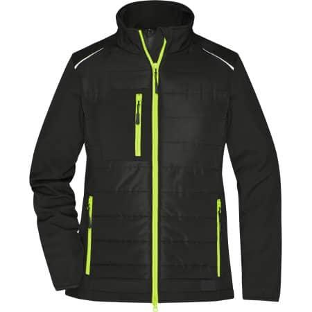 Ladies` Hybrid Jacket in Black Neon Yellow von James+Nicholson (Artnum: JN1819