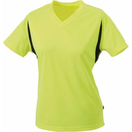 Ladies Running-T in Fluo-Yellow Black von James+Nicholson (Artnum: JN316