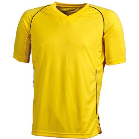 Team Shirt Junior in Yellow Black von James+Nicholson (Artnum: JN386K