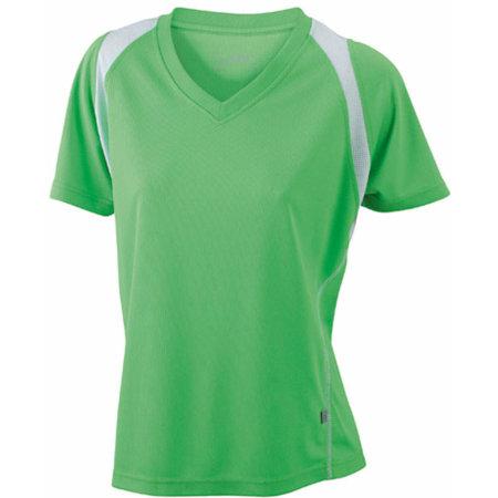Ladies` Running-T in Lime Green|White von James+Nicholson (Artnum: JN396