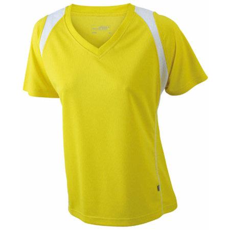 Ladies` Running-T in Yellow White von James+Nicholson (Artnum: JN396