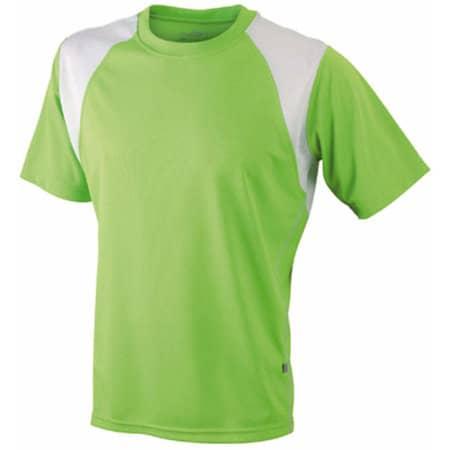Mens Running-T 397 in Lime Green|White von James+Nicholson (Artnum: JN397
