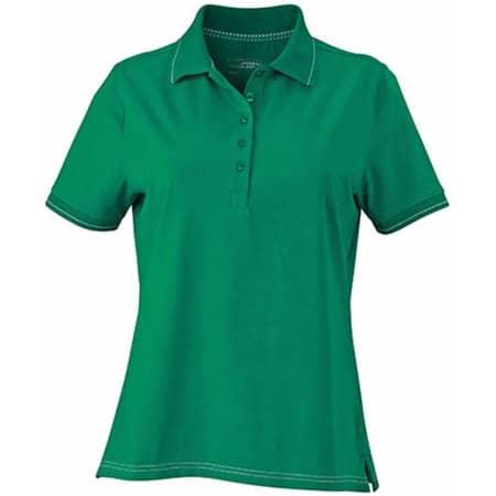 Ladies` Elastic Polo in Irish Green|White von James+Nicholson (Artnum: JN568