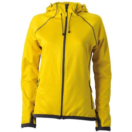 Ladies` Hooded Fleece in Yellow|Carbon von James+Nicholson (Artnum: JN570