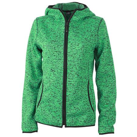 Ladies` Knitted Fleece Hoody in Green Melange Black von James+Nicholson (Artnum: JN588
