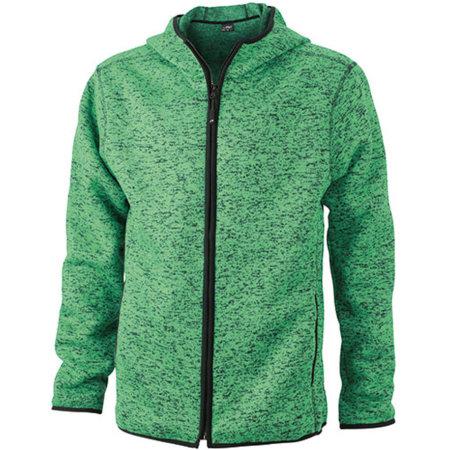 Men`s Knitted Fleece Hoody in Green Melange Black von James+Nicholson (Artnum: JN589