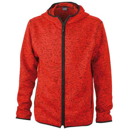 Men`s Knitted Fleece Hoody in Red Melange|Black von James+Nicholson (Artnum: JN589