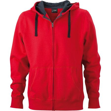 Men`s Hooded Jacket JN595 in Red|Carbon von James+Nicholson (Artnum: JN595